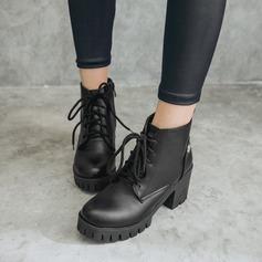 Mulheres Couro Salto robusto Bombas Plataforma Botas com Aplicação de renda sapatos