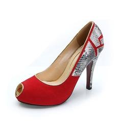 Kvinnor Mocka Konstläder Stilettklack Sandaler Peep Toe skor