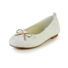Muchacha Punta Cerrada Spitze Satin Talón plano Zapatos de niña de las flores con Bowknot