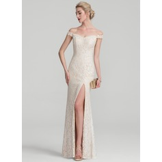 Sheath/Column Off-the-Shoulder Floor-Length Lace Evening Dress With Beading Sequins Split Front