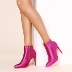 Women's Silk Like Satin Stiletto Heel Pumps Boots Mid-Calf Boots With Zipper shoes
