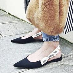 De mujer Tela Tacón plano Planos Cerrados Solo correa con Bowknot zapatos