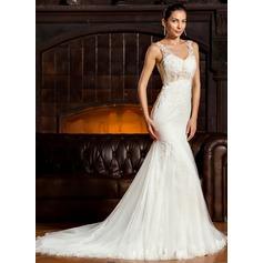 Раструб/Платье-русалка V-образный Sweep/Щетка поезд Тюль кружева Свадебные Платье