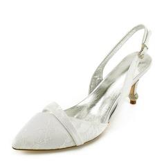 Frauen Spitze Kunstleder Spule Absatz Geschlossene Zehe Absatzschuhe Sandalen mit Kristallabsatz