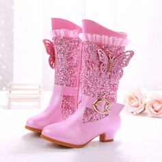 Girl's Leatherette Flat Heel Closed Toe Boots With Rhinestone Sparkling Glitter Zipper