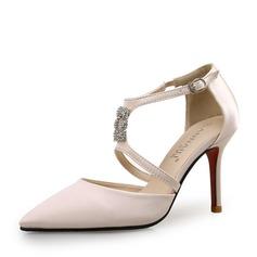 De mujer Seda Tacón stilettos Salón con Rhinestone Agujereado zapatos