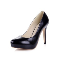 Leatherette Stiletto Heel Pumps Platform Closed Toe shoes (085038557)