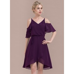 A-Line/Princess V-neck Asymmetrical Chiffon Bridesmaid Dress With Cascading Ruffles