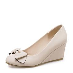 Donna PVC Zeppe Zeppe con Bowknot scarpe