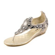 Kvinnor Konstläder Kilklack Sandaler med Strass skor