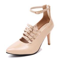 Frauen Lackleder Stöckel Absatz Absatzschuhe Plateauschuh Geschlossene Zehe mit Schnalle Schuhe