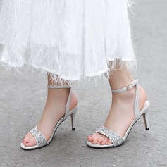 Women's Sparkling Glitter Microfiber Leather Stiletto Heel Sandals Pumps Peep Toe With Sequin Sparkling Glitter Buckle shoes (087208928)