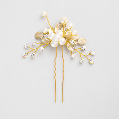 Ladies Stylish Alloy Hairpins With Venetian Pearl (042220368)