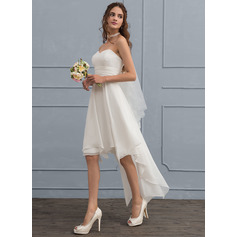 A-Line Sweetheart Asymmetrical Chiffon Wedding Dress With Ruffle