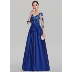 Ball-Gown Scoop Neck Floor-Length Satin Evening Dress With Beading Sequins (017139089)