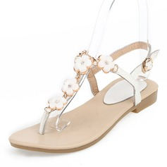 Donna Vera pelle Senza tacco Sandalo Ballerine Punta aperta Con cinturino con Fibbia Fiore scarpe