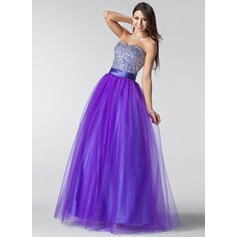 Ball-Gown Sweetheart Floor-Length Tulle Prom Dress With Ruffle Beading Sequins
