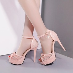 Women's Lace PU Stiletto Heel Sandals Pumps Platform With Bowknot shoes