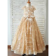 Duchesse-Linie/Princess Bodenlang Blumenmädchenkleid - Tüll Kurze Ärmel U-Ausschnitt (010211682)