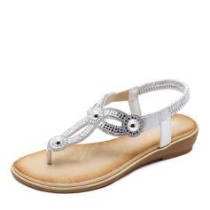 Kvinnor Konstläder Flat Heel Sandaler Kilar Peep Toe med Kristall Oäkta Pearl skor