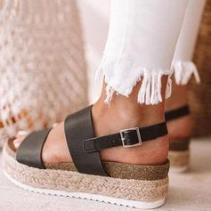 Женщины Кожа из микроволокна Вид каблука Сандалии обувь