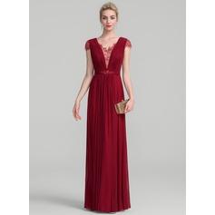 Forme Princesse Col V Longueur ras du sol Jersey Robe de mère de la mariée avec Plissé Brodé Paillettes