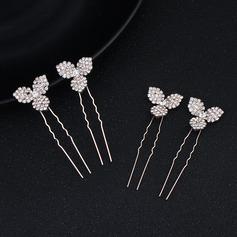 Ladies Amazing Alloy Hairpins With Rhinestone (Set of 4)