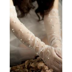 Тюль/перлы ложный локоть длина Свадебные перчатки