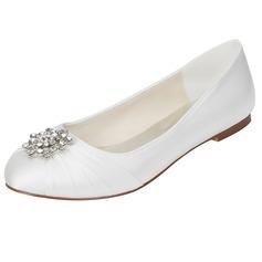 Women's Silk Like Satin Flat Heel Flats With Crystal (047114304)