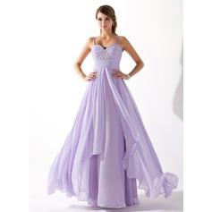 Corte A/Princesa Escote corazón Hasta el suelo Chifón Vestido de baile de promoción con Volantes Bordado