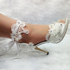 Women's Leatherette Stiletto Heel Peep Toe With Stitching Lace