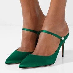 Kvinnor Silke Spool Heel Pumps Stängt Toe Slingbacks Mary Jane skor