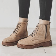 Women's Suede Flat Heel Boots Martin Boots With Lace-up Elastic Band shoes