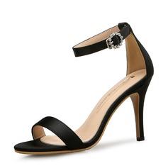 Women's Satin Stiletto Heel Sandals Pumps Peep Toe With Buckle shoes
