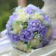 Atraente Redondo Cetim Buquês de noiva -