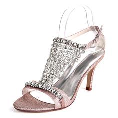 Mulheres Espumante Glitter Salto agulha Bombas Sandálias com Fivela Strass