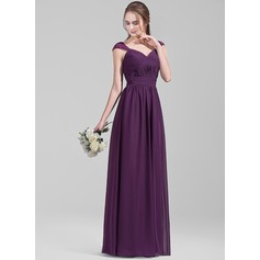 A-Line/Princess Sweetheart Floor-Length Chiffon Bridesmaid Dress With Ruffle Lace (007072785)