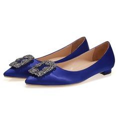Frauen Satin Flascher Absatz Flache Schuhe mit Strass Schuhe