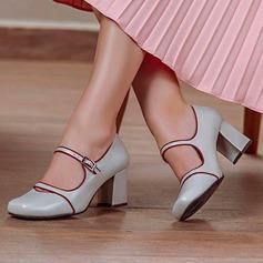 Naisten Keinonahasta Chunky heel Avokkaat Suljettu toe jossa Solki kengät