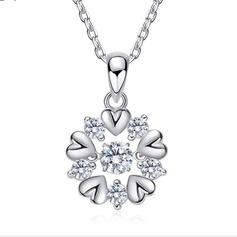 женские Сияющий S925 Silver Цирконий ожерелья Ее/Друзья/невесты