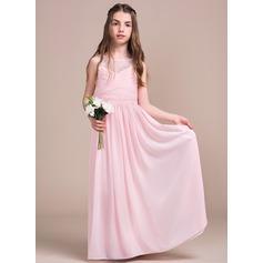 A-Linie/Princess-Linie U-Ausschnitt Bodenlang Chiffon Spitze Kleid für junge Brautjungfern mit Rüschen