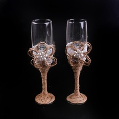 Beautiful Toasting Flutes With Faux Pearl/Flowers (Set Of 2)