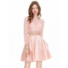 A-Line/Princess Scoop Neck Short/Mini Satin Homecoming Dress (022127930)