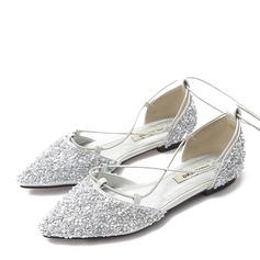 Kvinder Mousserende Glitter Flad Hæl Fladsko Lukket Tå med Blondér sko