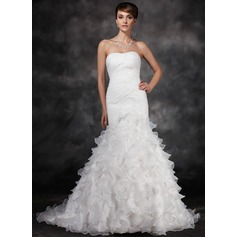 Trumpet/Mermaid Sweetheart Court Train Satin Organza Wedding Dress With Ruffle Cascading Ruffles (002017165)