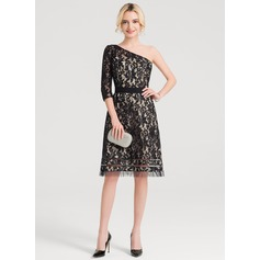 A-Line One-Shoulder Knee-Length Lace Cocktail Dress