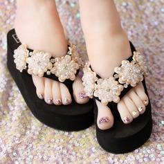 Kvinnor Duk Flat Heel Plattform Flip Flops Tofflor med Strass Oäkta Pearl Blomma skor