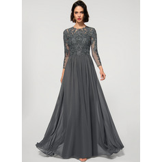 A-Line Scoop Neck Floor-Length Chiffon Lace Evening Dress With Sequins (017219162)