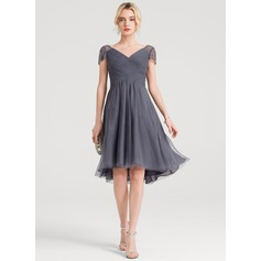 A-Line V-neck Asymmetrical Tulle Cocktail Dress With Ruffle Beading