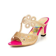 Mulheres Couro Salto robusto Sandálias Sapatos abertos com Strass sapatos